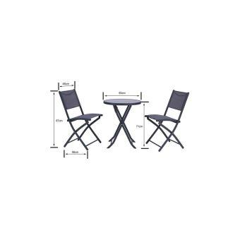 Finlandek - Ensemble Salon De Jardin 2 Places - Table Ronde Pliable Plateau  Verre Trempe Chaises Pliantes Acier - Gris Anthracit
