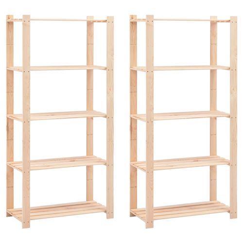 vidaXL Étagères de stockage 5 niveaux 2 pcs 80x38x170 cm Pin 250 kg