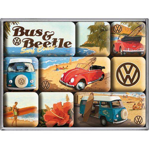 Nostalgic Art Lot de 9 aimants pour réfrigérateur sur le thème de la marque Volkswagen avec Bulli, T2, Beetle et cabriolet