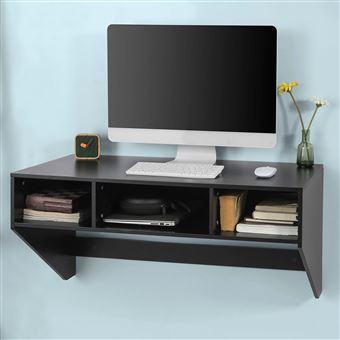 SoBuy® FWT14-Sch Table murale Table de cuisine Bureau informatique avec 3  compartiments - Noir