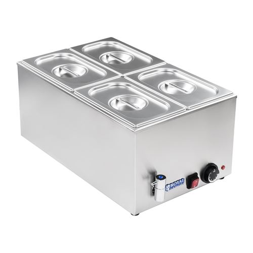 Bain-marie électrique professionnel bac GN 1/4 avec robinet de vidange 1 200 watts