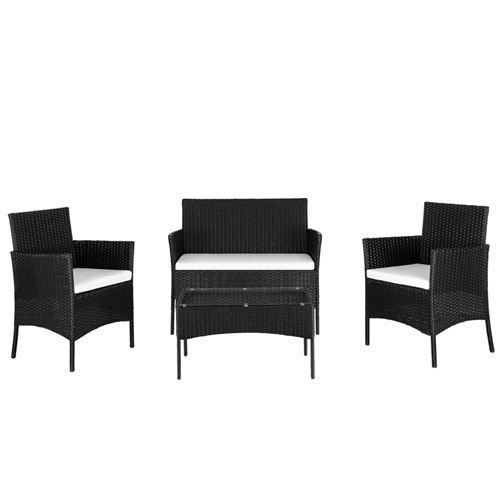 Canapé d'extérieur Alightup Ensemble de canapés en rotin avec 2 fauteuils et 1 causeuse et table basse en verre trempé - Noir