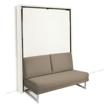 Armoire lit escamotable HOUDINI SLASH 140 blanche mate canapé tissu tweed  taupe