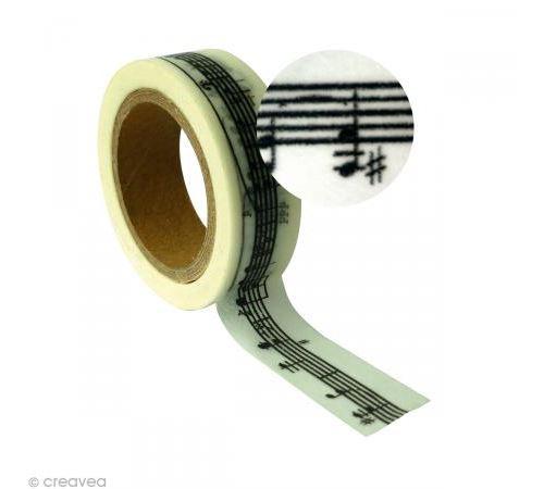 Ruban adhésif décoratif - Portée musique 15 mm x 10 m