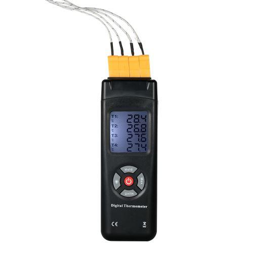 Zitainn Thermomètre Sensor Capteur de thermomètre numérique LCD à 4 canaux de type K -50 ~ 1350 ° C / -58 ~ 2462 ° F