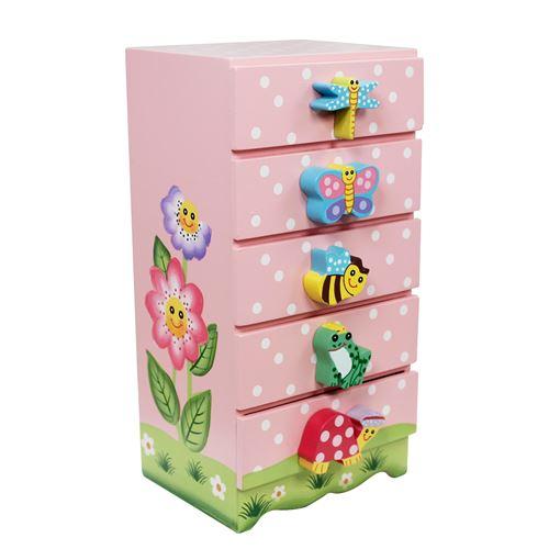 Meuble commode armoire présentoir coffre à bijoux en bois enfant fille TD-11640A