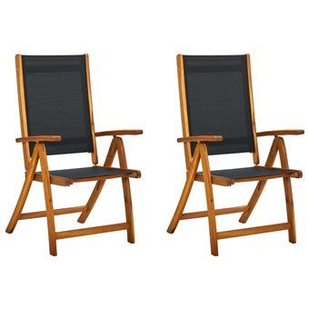 et Chaises d'acacia vidaXL 2 de textilène pliables jardin Bois pcs g7bfvY6yI