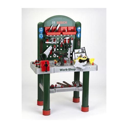 bricolage - etabli - outil - Établi bosch workshop avec visseuse mécanique et véhicule a monter - 3 ans et +