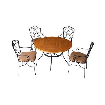 Salon de jardin 4 chaises + 1 table, chaises en métal, 1 table ronde ...