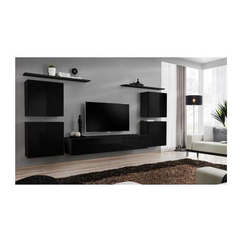Ensemble meuble salon SWITCH IV design, coloris noir brillant.