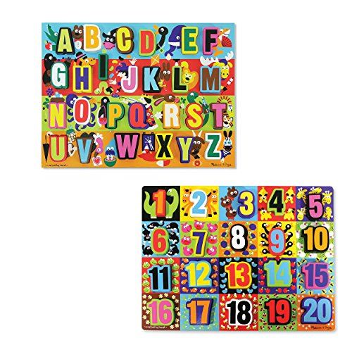 Melissa Doug Wooden Chunky Puzzles Set - Alphabet and Numbers