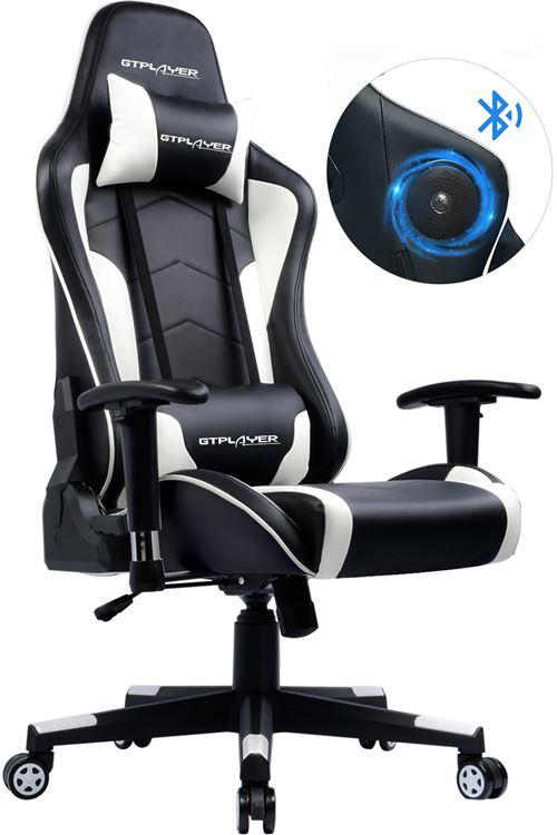 GTRACING Chaise Gaming de Bureau Fauteuil de Bureau Chaise Gamer Music avec Haut-Parleur Bluetooth, Design Ergonomique Blanc