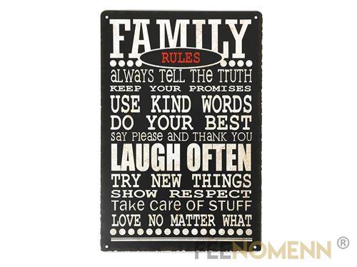 plaque métal déco vintage - family rules (20x30cm)