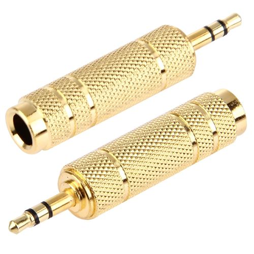 (#1) Gold Plated 3.5mm Plug to 6.35mm Stereo Jack Adaptor Socket Adapter