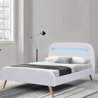 lit sommier scandinave avec led blanc 160x200 achat prix fnac - Lit 160x200 Avec Led