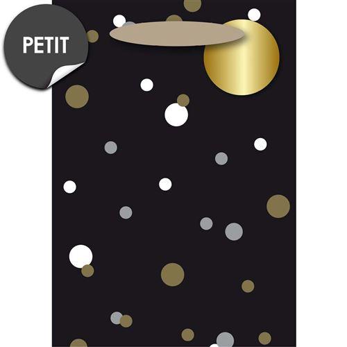 Draeger la carterie Sac Cadeau Petit format noir aux pois blanc et or Multicolore