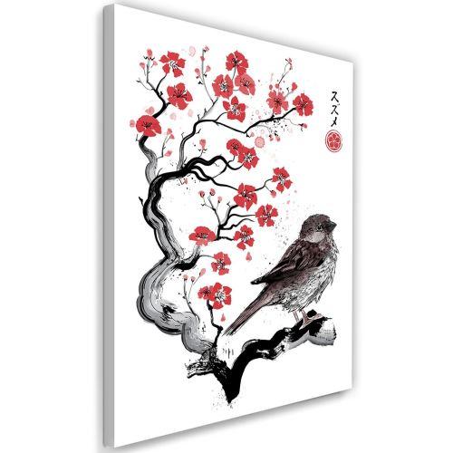 Feeby Tableau sur toile Déco moderne Image, Moineau sur ceriser japonais 70x100 cm