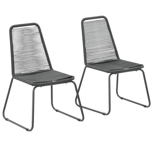 Chaises d'extérieur 2 pcs Résine tressée Noir