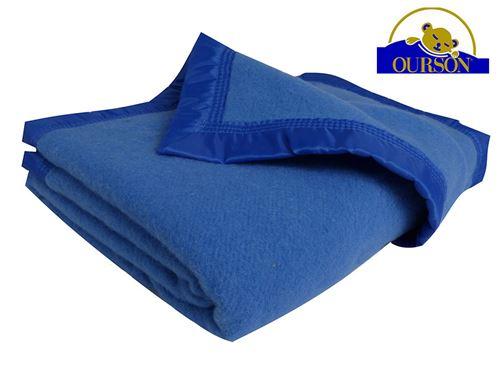 Couverture pure laine woolmark ourson 350 gr bleu 180x220