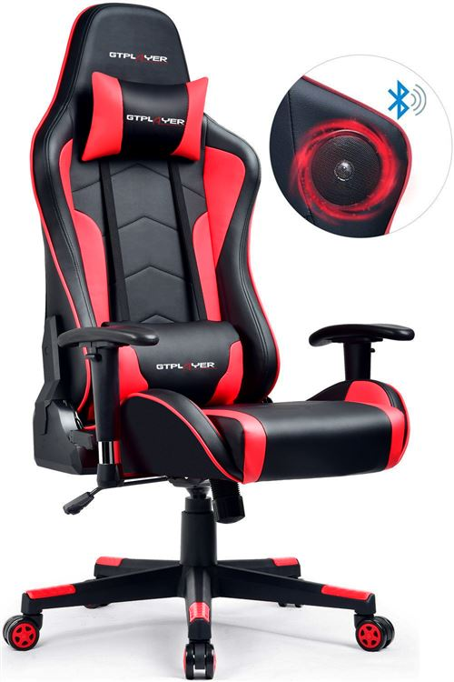 GTRACING Chaise Gaming de Bureau Fauteuil de Bureau Chaise Gamer Music avec Haut-Parleur Bluetooth, Design Ergonomique Rouge