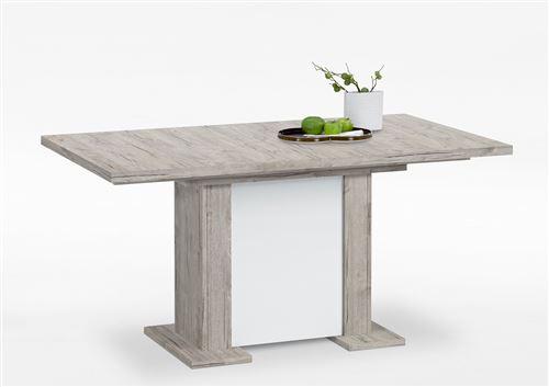 Table à manger coloris chêne sable / blanc - 160 / 230 x 76 x 90 cm -PEGANE-