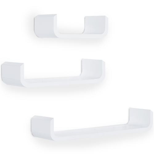 Lot de 3 étagères murales flottantes design contemporain courbé kit fixation inclus MDF blanc