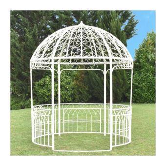 Grande Tonnelle Gloriette Kiosque Dome Fer Blanc De Jardin ø250 Cm