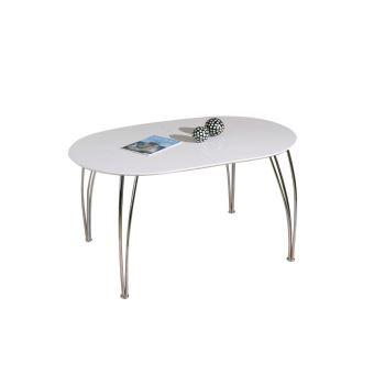 Table à manger extensible design laquée blanche L140-180 ...