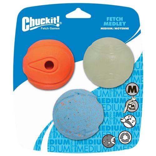 Chuckit Balle pour Chien Fetch Medley M pack de 3