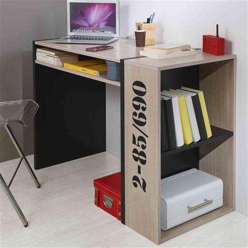 Bureau bibliothèque chêne et noir BU5009