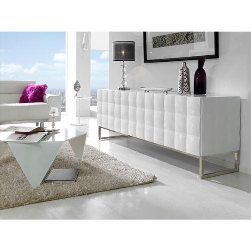 Buffet 4 portes en bois laqué blanc brillant effet 3D SOLANA