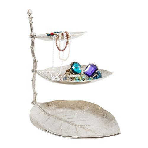 Porte-bijoux feoeilles argentées 45cm Kare Design