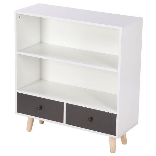 2 Niveaux Armoire de Rangement avec 2 Tiroir Meuble TV /Table basse / Etagère à livres - Principal blanc et gris clair 80*30*90cm