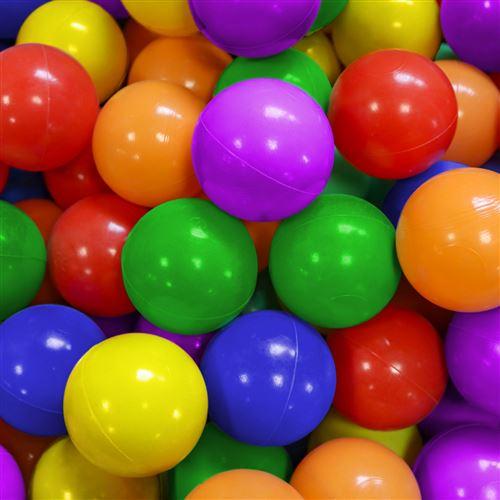 Sac de 100 balles de jeu ou de piscine diamètre 5,5 cm indéformables + Filet de rangement - Multicolore