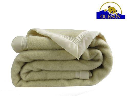 Couverture pure laine woolmark ourson 600 gr ecru 180x220
