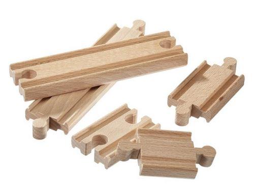 Coffret de 6 rails droits en bois - accessoire circuit train en bois - jouet en bois