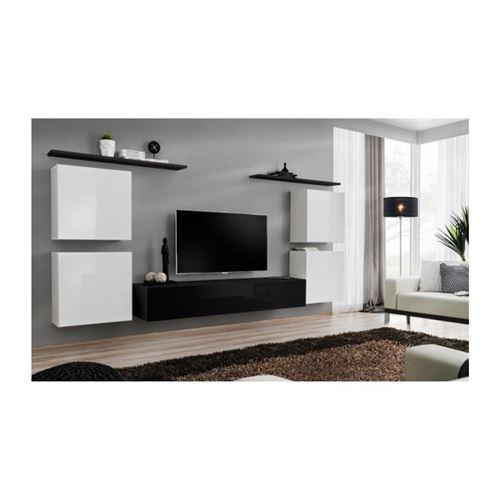 Ensemble meuble salon SWITCH IV design, coloris noir et blanc brillant.