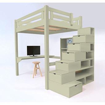 abc meubles lit mezzanine alpage bois escalier cube hauteur r glable alpagcub moka. Black Bedroom Furniture Sets. Home Design Ideas