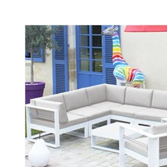 Salon bas de jardin en aluminium brisbane beige chiné ...