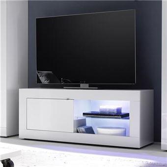 Nouvomeuble Meuble Tv 140 Cm Blanc Laque Design Focia 2
