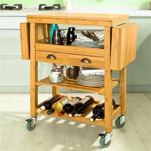 Sobuy Chariot De Cuisine En Bambou Desserte Roulante Kitchen Trolley Fkw25 N Fr