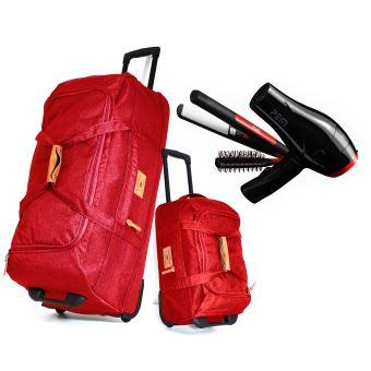 Lot de 2 Sacs de sport/voyage 80/50cm Rouge + Sèche cheveux + Lisseur + Brosse à cheveux twehFoSx
