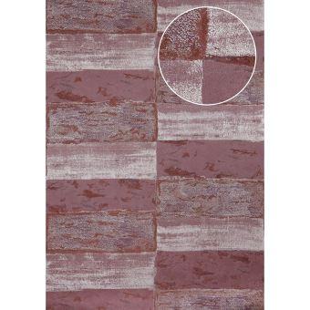 Papier Peint Aspect Pierre Carrelage Atlas Ico 2705 5 Papier Peint Intissé Lisse Avec Un Dessin Nature Satiné Pourpre Rouge Noir Rouge Vin Argent