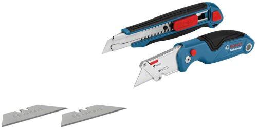 Bosch Professional 1600A016BM Set de 2 Outils de Coupe (Couteau Pliant Universel et Cutter Professionnel, Lames de Rechange, sous Blister)