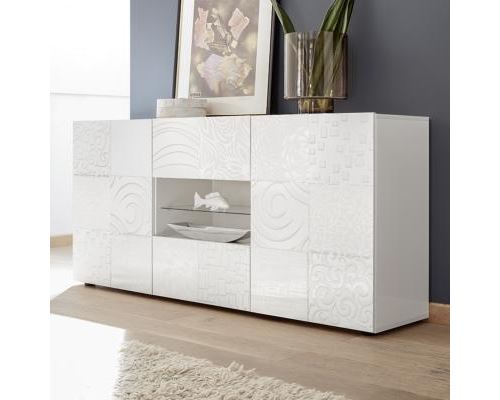 Buffet blanc laqué 180 cm design ELMA avec éclairage LED - L 181 x P 42 x H 84 cm