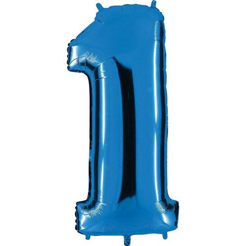 ballon Nombre en bleu - XXL Nombre géant 100cm - pour anniversaire anniversaire & Co - NEUF - fête cadeau décoration Ballon feuille ballon à gonfler Joyeux Anniversaire - Nombre 1, 100cm