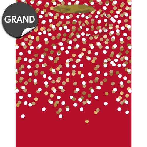 Draeger la carterie Sac cadeau grand format rouge Pois blancs et or- L Multicolore