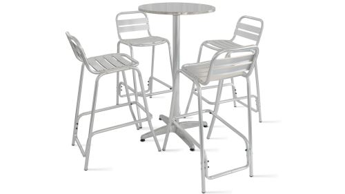 Table de jardin haute en aluminium et 4 tabourets - Gris ...