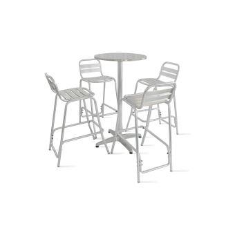 Table de jardin haute en aluminium et 4 tabourets - Mobilier de ...