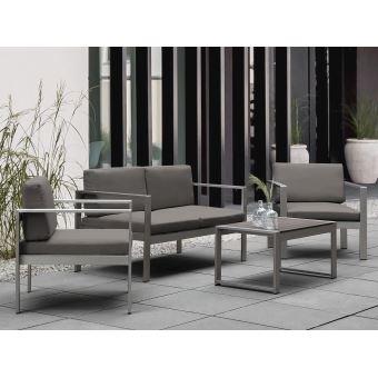 Beliani - Salon de jardin en aluinium coussin en tissu gris foncé table  basse incluse - Salerno